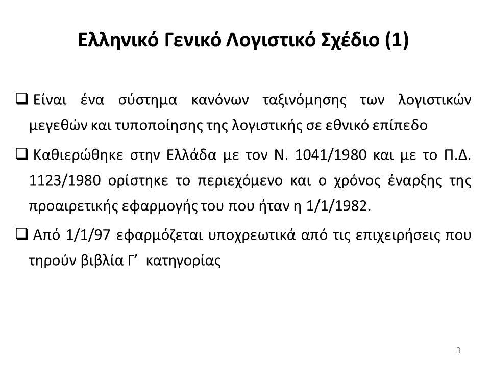 Ελληνικό Γενικό Λογιστικό Σχέδιο (1)  Είναι ένα σύστημα κανόνων ταξινόμησης των λογιστικών μεγεθών και τυποποίησης της λογιστικής σε εθνικό επίπεδο  Καθιερώθηκε στην Ελλάδα με τον Ν.