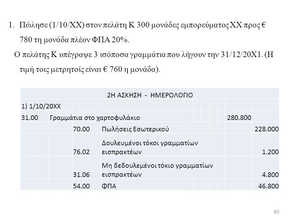 1.Πώλησε (1/10/ΧΧ) στον πελάτη Κ 300 μονάδες εμπορεύματος ΧΧ προς € 780 τη μονάδα πλέον ΦΠΑ 20%.