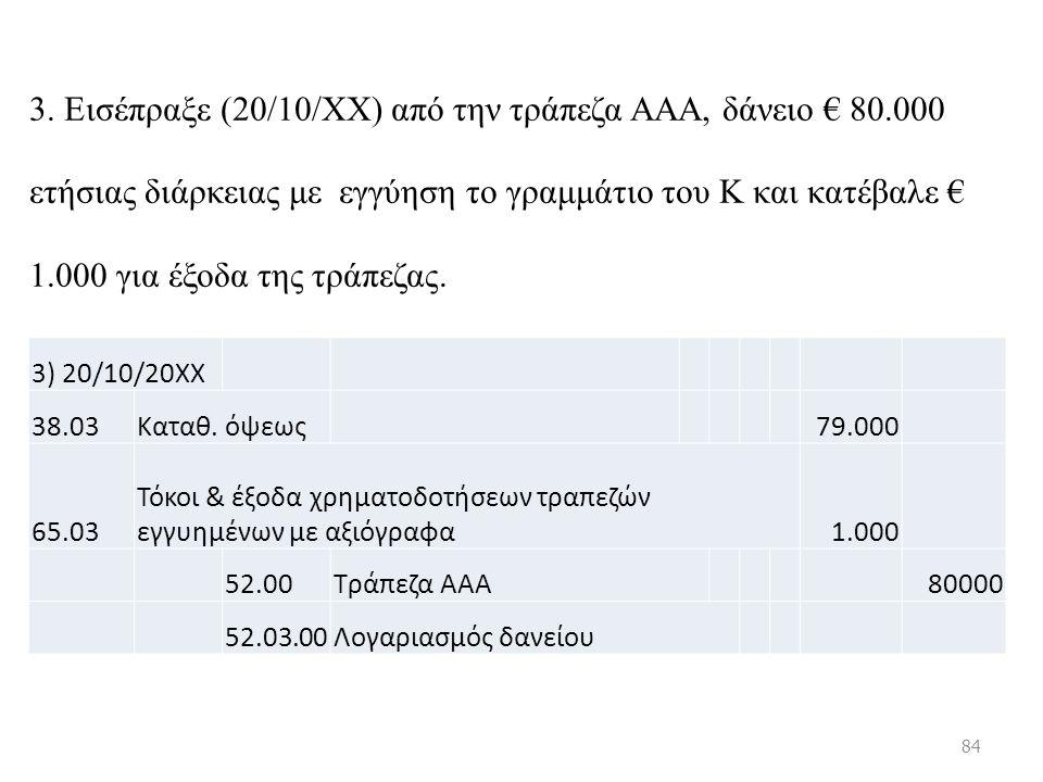3. Εισέπραξε (20/10/ΧΧ) από την τράπεζα ΑΑΑ, δάνειο € 80.000 ετήσιας διάρκειας με εγγύηση το γραμμάτιο του Κ και κατέβαλε € 1.000 για έξοδα της τράπεζ