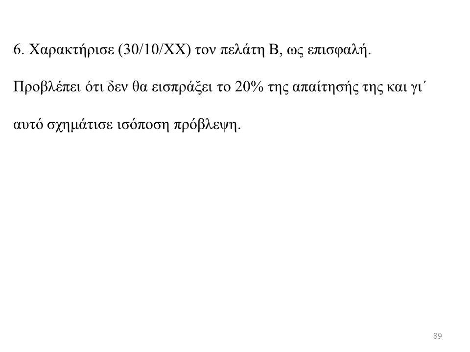 6. Χαρακτήρισε (30/10/ΧΧ) τον πελάτη Β, ως επισφαλή.