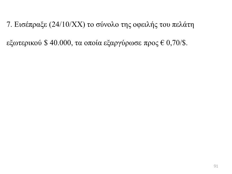 7. Εισέπραξε (24/10/ΧΧ) το σύνολο της οφειλής του πελάτη εξωτερικού $ 40.000, τα οποία εξαργύρωσε προς € 0,70/$. 91