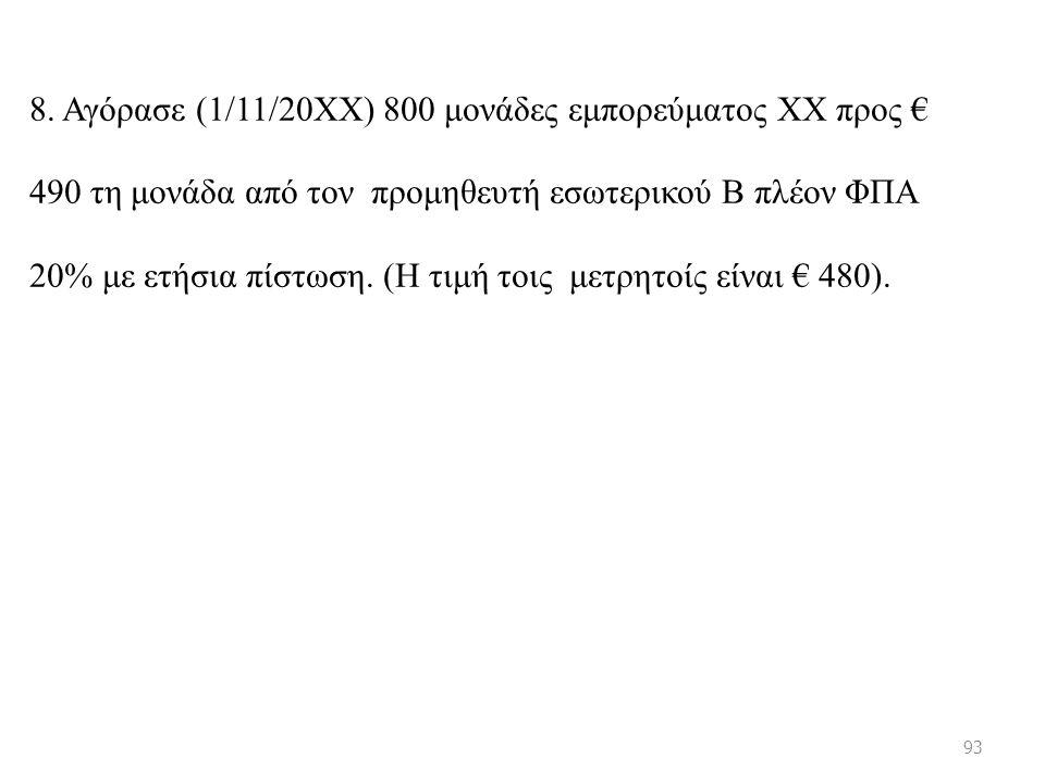 8. Αγόρασε (1/11/20ΧΧ) 800 μονάδες εμπορεύματος ΧΧ προς € 490 τη μονάδα από τον προμηθευτή εσωτερικού Β πλέον ΦΠΑ 20% με ετήσια πίστωση. (Η τιμή τοις