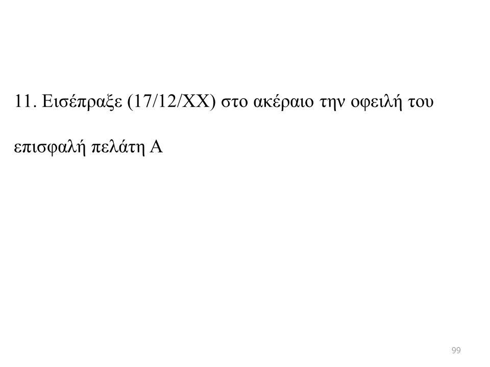 11. Εισέπραξε (17/12/ΧΧ) στο ακέραιο την οφειλή του επισφαλή πελάτη Α 99