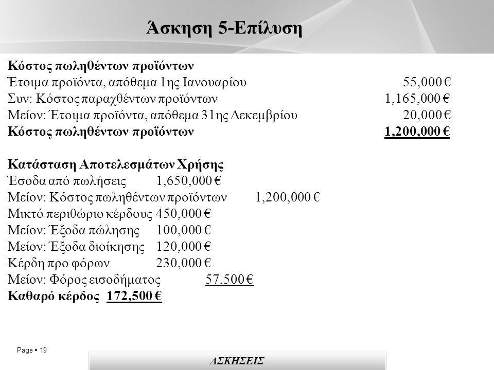 Page  19 Άσκηση 5-Επίλυση ΑΣΚΗΣΕΙΣ Κόστος πωληθέντων προϊόντων Έτοιμα προϊόντα, απόθεμα 1ης Ιανουαρίου 55,000 € Συν: Κόστος παραχθέντων προϊόντων 1,165,000 € Μείον: Έτοιμα προϊόντα, απόθεμα 31ης Δεκεμβρίου 20,000 € Κόστος πωληθέντων προϊόντων 1,200,000 € Κατάσταση Αποτελεσμάτων Χρήσης Έσοδα από πωλήσεις 1,650,000 € Μείον: Κόστος πωληθέντων προϊόντων 1,200,000 € Μικτό περιθώριο κέρδους 450,000 € Μείον: Έξοδα πώλησης 100,000 € Μείον: Έξοδα διοίκησης 120,000 € Κέρδη προ φόρων 230,000 € Μείον: Φόρος εισοδήματος 57,500 € Καθαρό κέρδος 172,500 €
