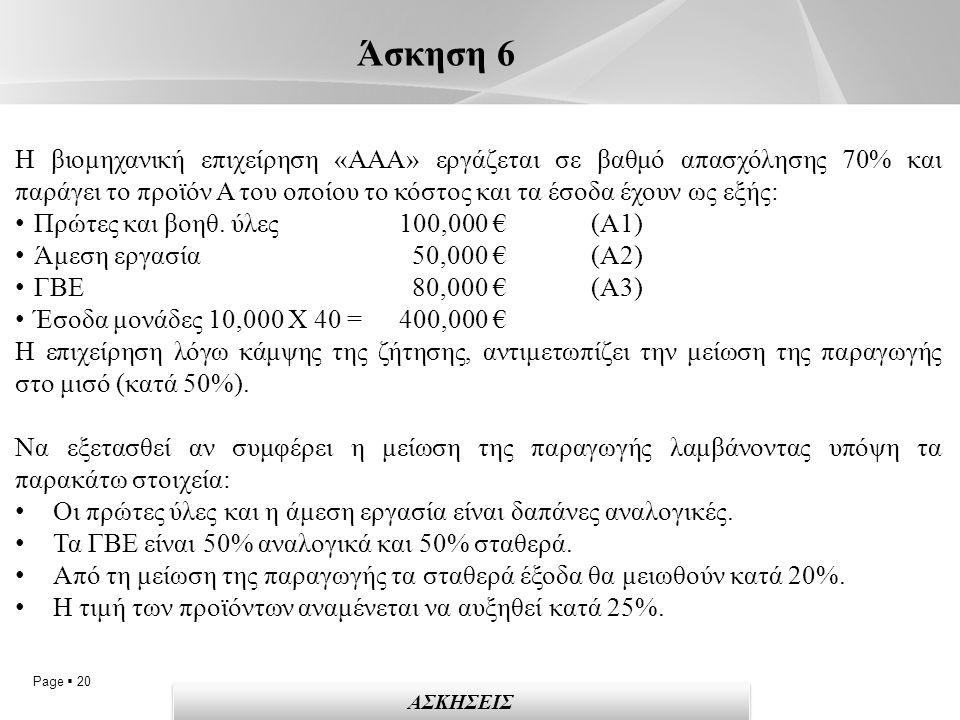 Page  20 Άσκηση 6 ΑΣΚΗΣΕΙΣ Η βιομηχανική επιχείρηση «ΑΑΑ» εργάζεται σε βαθμό απασχόλησης 70% και παράγει το προϊόν Α του οποίου το κόστος και τα έσοδα έχουν ως εξής: Πρώτες και βοηθ.