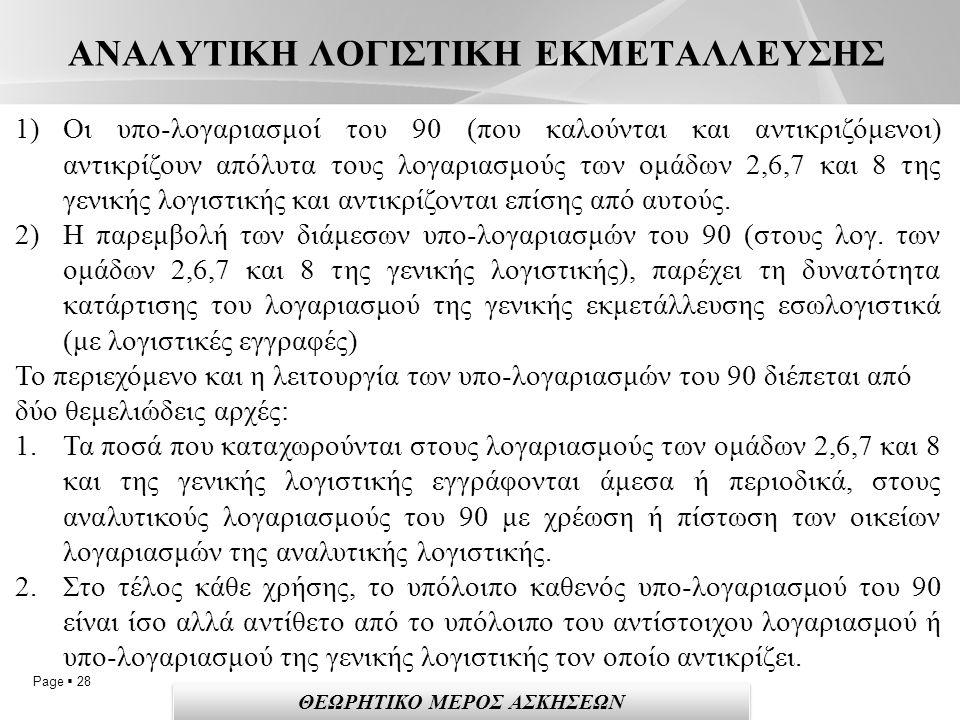 Page  28 ΑΝΑΛΥΤΙΚΗ ΛΟΓΙΣΤΙΚΗ ΕΚΜΕΤΑΛΛΕΥΣΗΣ 1)Οι υπο-λογαριασμοί του 90 (που καλούνται και αντικριζόμενοι) αντικρίζουν απόλυτα τους λογαριασμούς των ομάδων 2,6,7 και 8 της γενικής λογιστικής και αντικρίζονται επίσης από αυτούς.