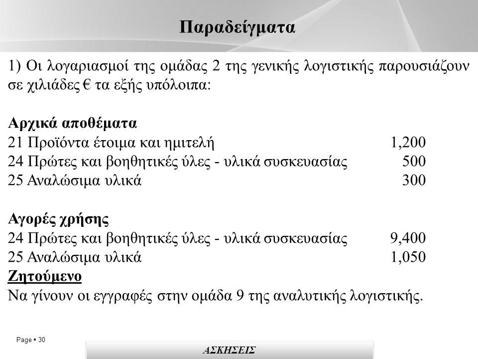 Page  30 Παραδείγματα 1) Οι λογαριασμοί της ομάδας 2 της γενικής λογιστικής παρουσιάζουν σε χιλιάδες € τα εξής υπόλοιπα: Αρχικά αποθέματα 21 Προϊόντα έτοιμα και ημιτελή 1,200 24 Πρώτες και βοηθητικές ύλες - υλικά συσκευασίας 500 25 Αναλώσιμα υλικά 300 Αγορές χρήσης 24 Πρώτες και βοηθητικές ύλες - υλικά συσκευασίας 9,400 25 Αναλώσιμα υλικά 1,050 Ζητούμενο Να γίνουν οι εγγραφές στην ομάδα 9 της αναλυτικής λογιστικής.