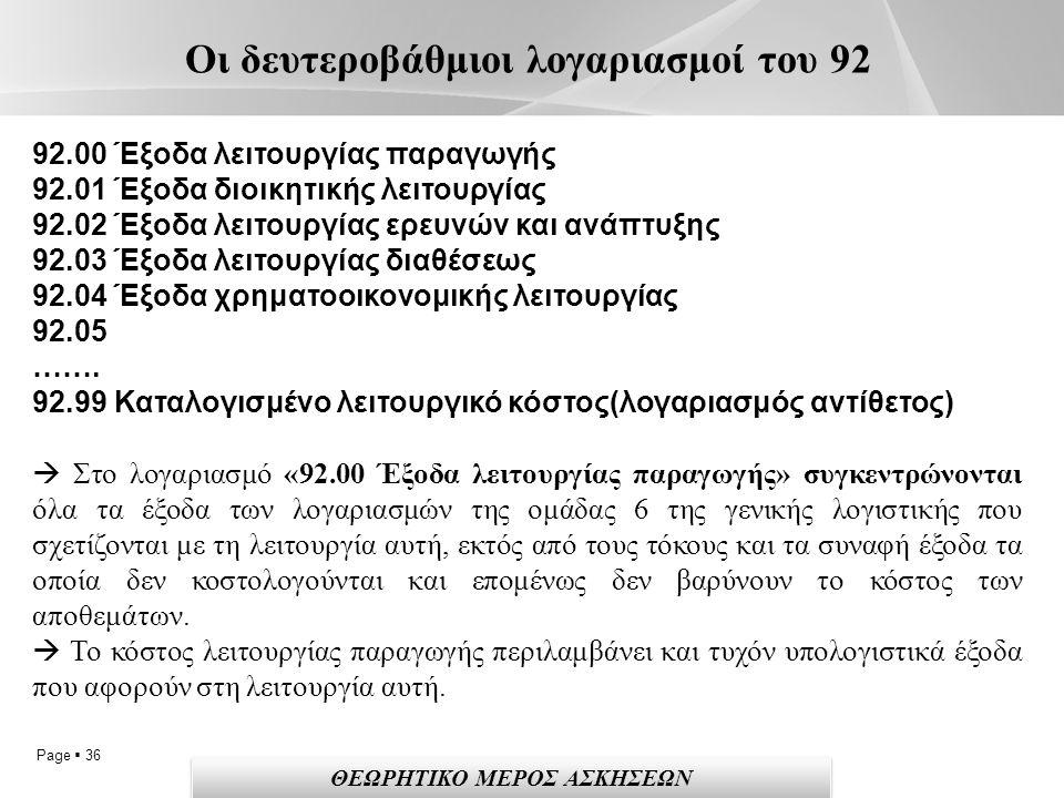 Page  36 Οι δευτεροβάθμιοι λογαριασμοί του 92 92.00 Έξοδα λειτουργίας παραγωγής 92.01 Έξοδα διοικητικής λειτουργίας 92.02 Έξοδα λειτουργίας ερευνών και ανάπτυξης 92.03 Έξοδα λειτουργίας διαθέσεως 92.04 Έξοδα χρηματοοικονομικής λειτουργίας 92.05 …….