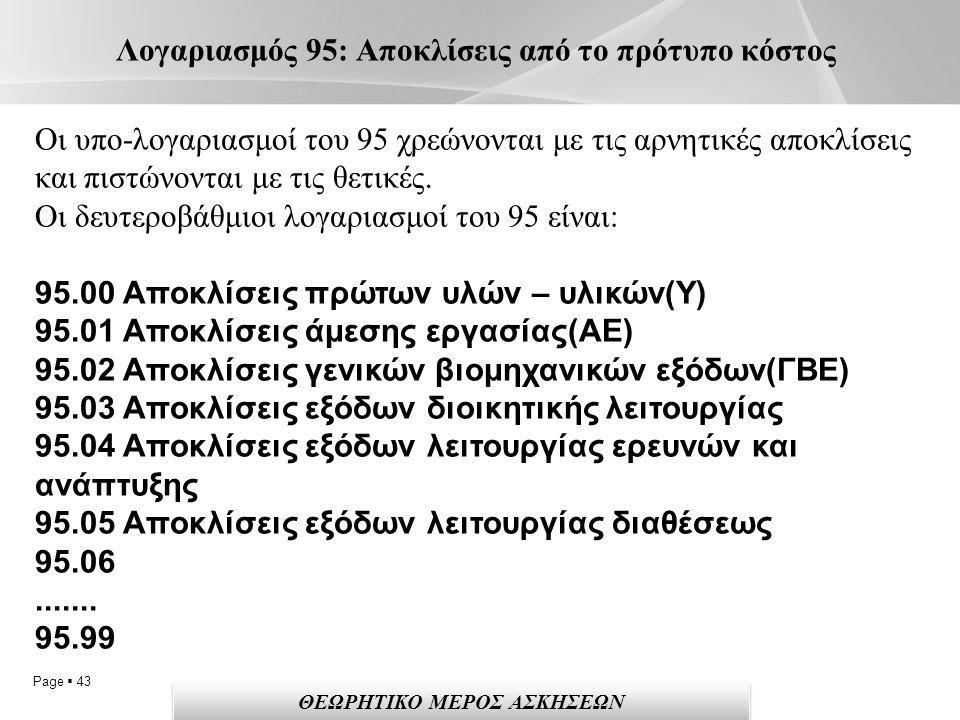 Page  43 Λογαριασμός 95: Αποκλίσεις από το πρότυπο κόστος ΘΕΩΡΗΤΙΚΟ ΜΕΡΟΣ ΑΣΚΗΣΕΩΝ Οι υπο-λογαριασμοί του 95 χρεώνονται με τις αρνητικές αποκλίσεις και πιστώνονται με τις θετικές.
