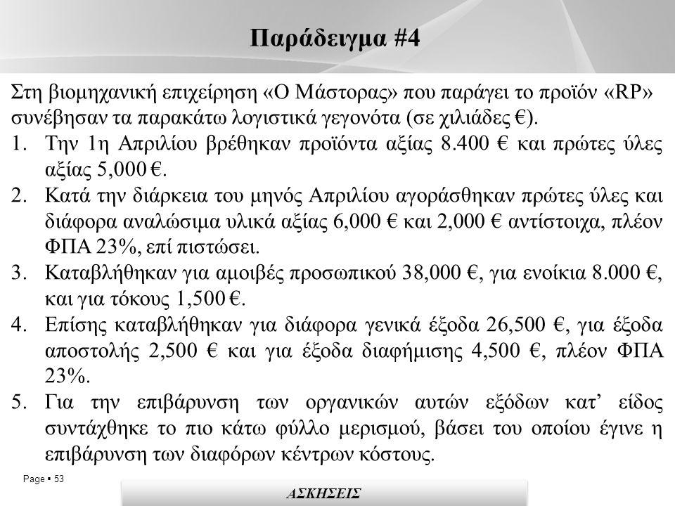Page  53 Παράδειγμα #4 Στη βιομηχανική επιχείρηση «Ο Μάστορας» που παράγει το προϊόν «RP» συνέβησαν τα παρακάτω λογιστικά γεγονότα (σε χιλιάδες €).