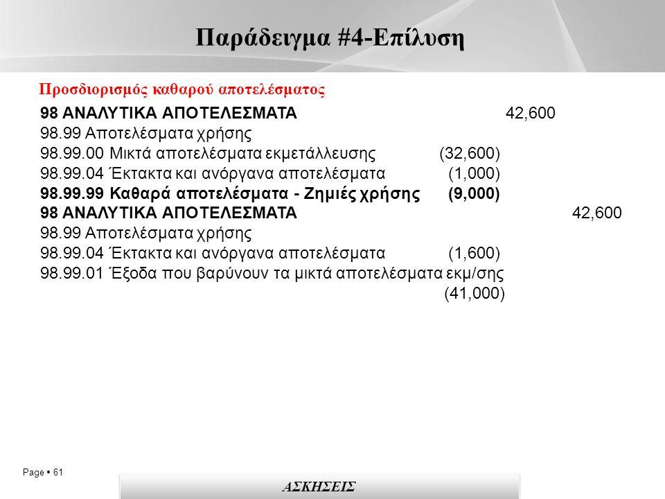 Page  61 Παράδειγμα #4-Επίλυση ΑΣΚΗΣΕΙΣ Προσδιορισμός καθαρού αποτελέσματος 98 ΑΝΑΛΥΤΙΚΑ ΑΠΟΤΕΛΕΣΜΑΤΑ 42,600 98.99 Αποτελέσματα χρήσης 98.99.00 Μικτά αποτελέσματα εκμετάλλευσης (32,600) 98.99.04 Έκτακτα και ανόργανα αποτελέσματα (1,000) 98.99.99 Καθαρά αποτελέσματα - Ζημιές χρήσης (9,000) 98 ΑΝΑΛΥΤΙΚΑ ΑΠΟΤΕΛΕΣΜΑΤΑ 42,600 98.99 Αποτελέσματα χρήσης 98.99.04 Έκτακτα και ανόργανα αποτελέσματα (1,600) 98.99.01 Έξοδα που βαρύνουν τα μικτά αποτελέσματα εκμ/σης (41,000)