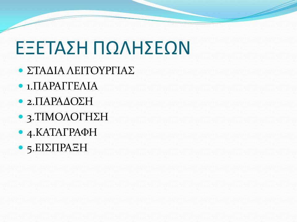 ΕΞΕΤΑΣΗ ΠΩΛΗΣΕΩΝ ΣΤΑΔΙΑ ΛΕΙΤΟΥΡΓΙΑΣ 1.ΠΑΡΑΓΓΕΛΙΑ 2.ΠΑΡΑΔΟΣΗ 3.ΤΙΜΟΛΟΓΗΣΗ 4.ΚΑΤΑΓΡΑΦΗ 5.ΕΙΣΠΡΑΞΗ