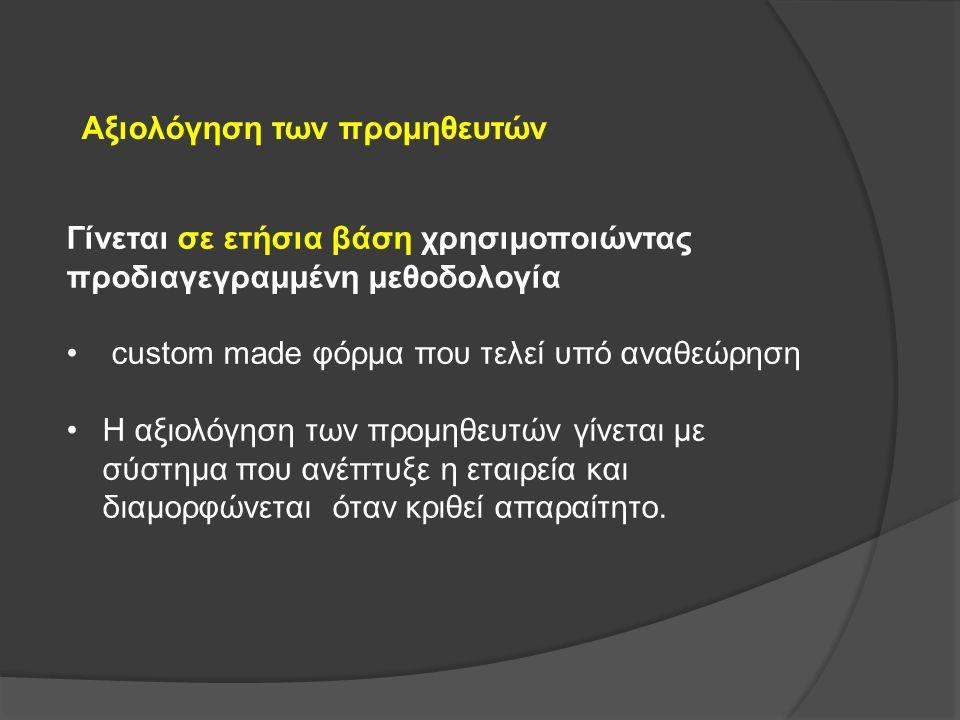 Αξιολόγηση των προμηθευτών Γίνεται σε ετήσια βάση χρησιμοποιώντας προδιαγεγραμμένη μεθοδολογία custom made φόρμα που τελεί υπό αναθεώρηση Η αξιολόγηση