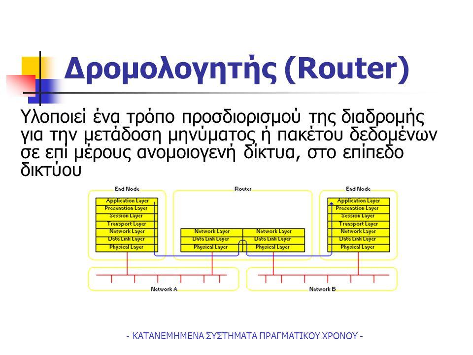 - ΚΑΤΑΝΕΜΗΜΕΝΑ ΣΥΣΤΗΜΑΤΑ ΠΡΑΓΜΑΤΙΚΟΥ ΧΡΟΝΟΥ - Δρομολογητής (Router) Υλοποιεί ένα τρόπο προσδιορισμού της διαδρομής για την μετάδοση μηνύματος ή πακέτου δεδομένων σε επί μέρους ανομοιογενή δίκτυα, στο επίπεδο δικτύου