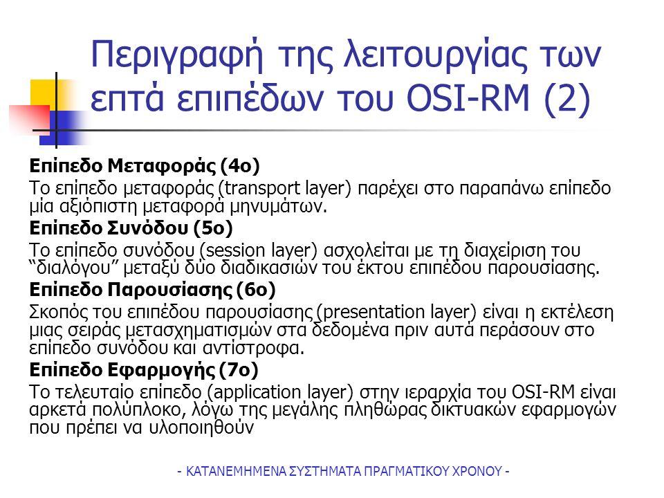 - ΚΑΤΑΝΕΜΗΜΕΝΑ ΣΥΣΤΗΜΑΤΑ ΠΡΑΓΜΑΤΙΚΟΥ ΧΡΟΝΟΥ - Περιγραφή της λειτουργίας των επτά επιπέδων του OSI-RM (2) Επίπεδο Μεταφοράς (4ο) Tο επίπεδο μεταφοράς (transport layer) παρέχει στο παραπάνω επίπεδο μία αξιόπιστη μεταφορά μηνυμάτων.