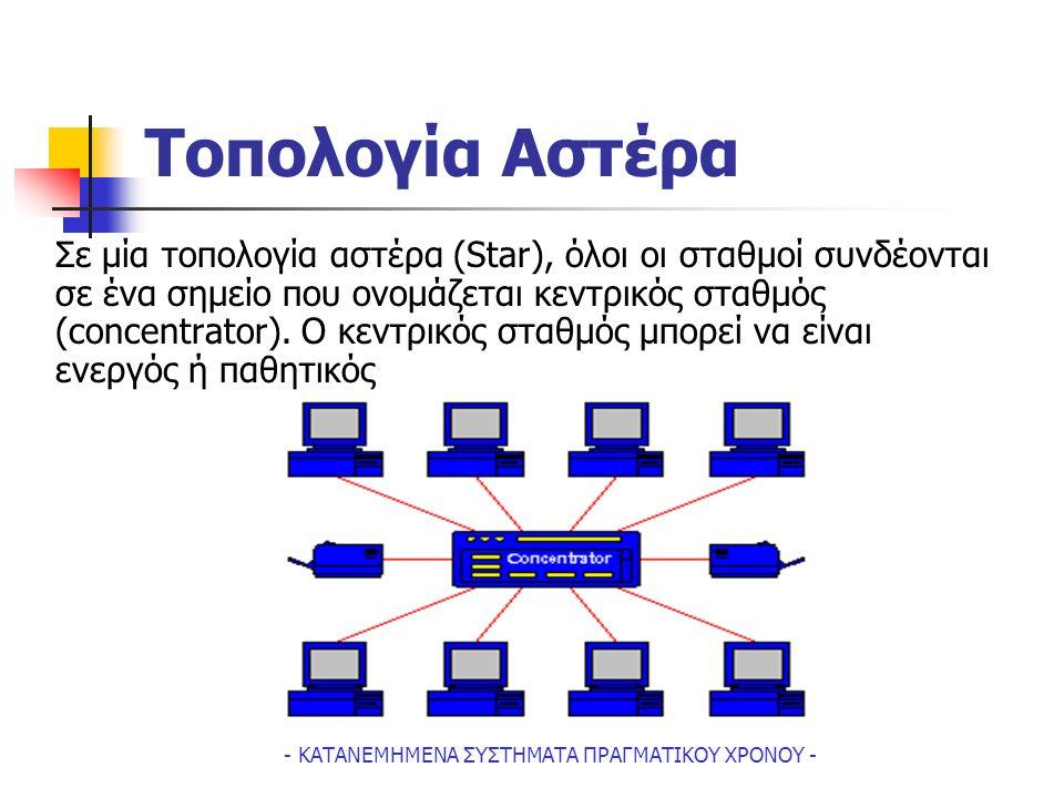 - ΚΑΤΑΝΕΜΗΜΕΝΑ ΣΥΣΤΗΜΑΤΑ ΠΡΑΓΜΑΤΙΚΟΥ ΧΡΟΝΟΥ - Tοπολογία Aστέρα Σε μία τοπολογία αστέρα (Star), όλοι οι σταθμοί συνδέονται σε ένα σημείο που ονομάζεται κεντρικός σταθμός (concentrator).