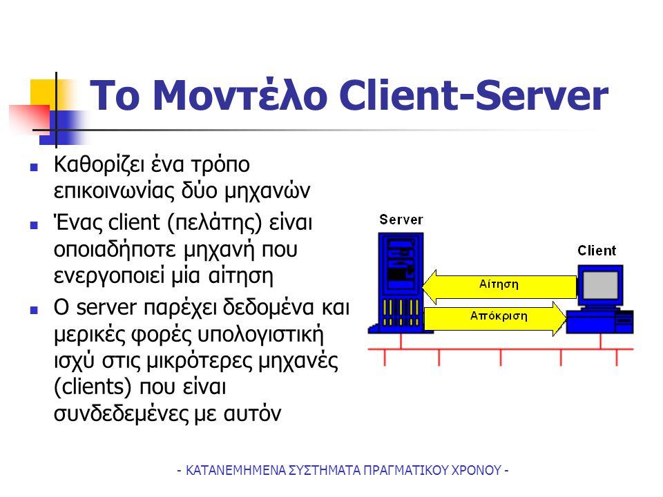 - ΚΑΤΑΝΕΜΗΜΕΝΑ ΣΥΣΤΗΜΑΤΑ ΠΡΑΓΜΑΤΙΚΟΥ ΧΡΟΝΟΥ - To Μοντέλο Client-Server Kαθορίζει ένα τρόπο επικοινωνίας δύο μηχανών Ένας client (πελάτης) είναι οποιαδήποτε μηχανή που ενεργοποιεί μία αίτηση Ο server παρέχει δεδομένα και μερικές φορές υπολογιστική ισχύ στις μικρότερες μηχανές (clients) που είναι συνδεδεμένες με αυτόν