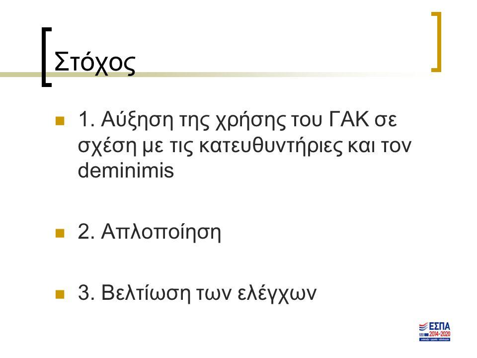 Στόχος 1.Αύξηση της χρήσης του ΓΑΚ σε σχέση με τις κατευθυντήριες και τον deminimis 2.