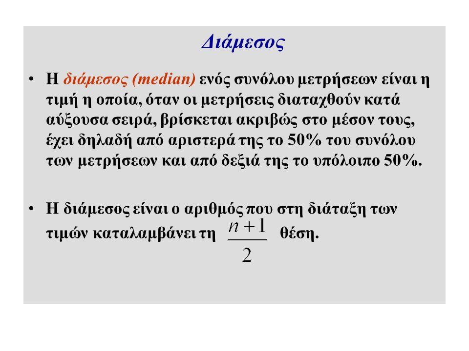 Διάμεσος Η διάμεσος (median) ενός συνόλου μετρήσεων είναι η τιμή η οποία, όταν οι μετρήσεις διαταχθούν κατά αύξουσα σειρά, βρίσκεται ακριβώς στο μέσον τους, έχει δηλαδή από αριστερά της το 50% του συνόλου των μετρήσεων και από δεξιά της το υπόλοιπο 50%.