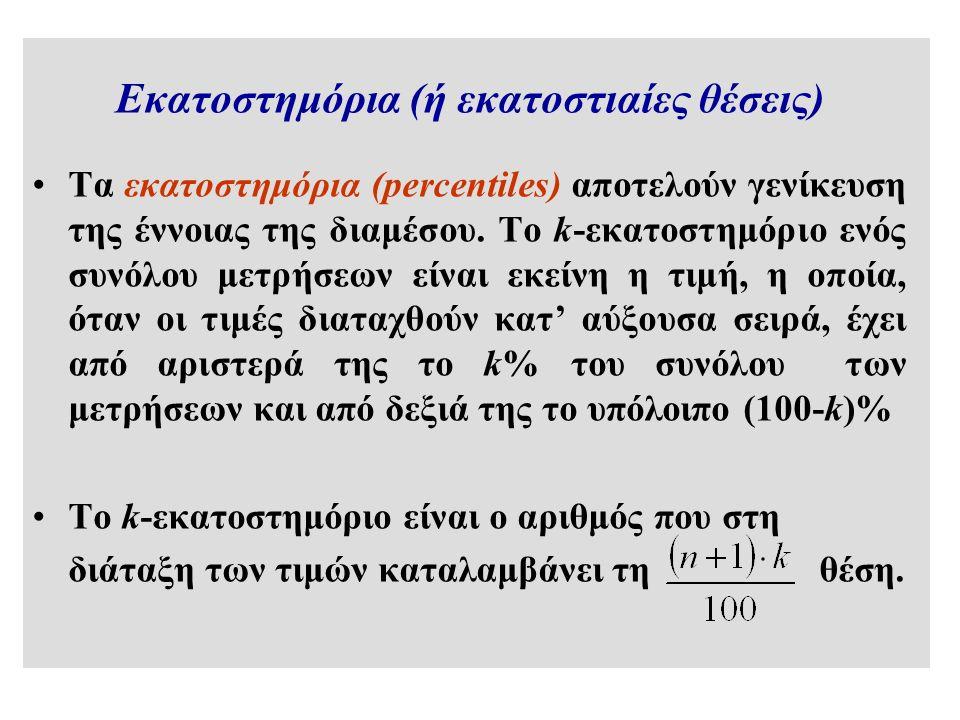 Εκατοστημόρια (ή εκατοστιαίες θέσεις) Τα εκατοστημόρια (percentiles) αποτελούν γενίκευση της έννοιας της διαμέσου.