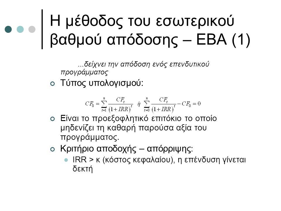 Η μέθοδος του εσωτερικού βαθμού απόδοσης – ΕΒΑ (1)...δείχνει την απόδοση ενός επενδυτικού προγράμματος Τύπος υπολογισμού: Είναι το προεξοφλητικό επιτόκιο το οποίο μηδενίζει τη καθαρή παρούσα αξία του προγράμματος.