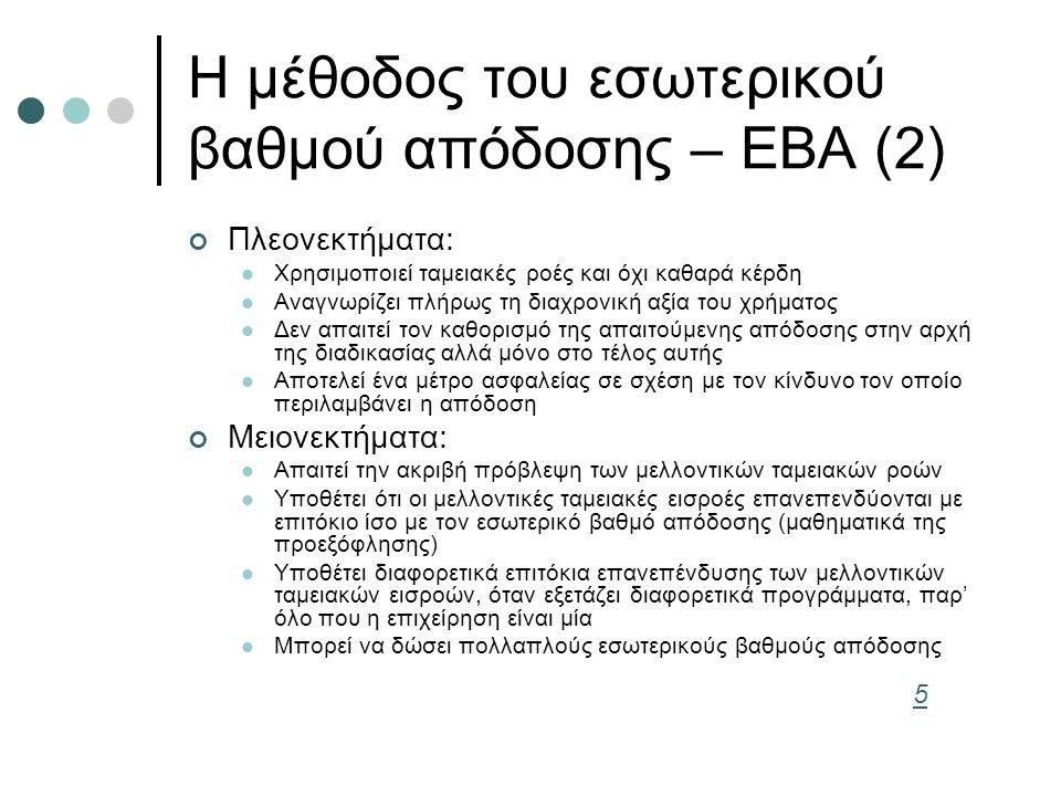 Η μέθοδος του εσωτερικού βαθμού απόδοσης – ΕΒΑ (2) Πλεονεκτήματα: Χρησιμοποιεί ταμειακές ροές και όχι καθαρά κέρδη Αναγνωρίζει πλήρως τη διαχρονική αξία του χρήματος Δεν απαιτεί τον καθορισμό της απαιτούμενης απόδοσης στην αρχή της διαδικασίας αλλά μόνο στο τέλος αυτής Αποτελεί ένα μέτρο ασφαλείας σε σχέση με τον κίνδυνο τον οποίο περιλαμβάνει η απόδοση Μειονεκτήματα: Απαιτεί την ακριβή πρόβλεψη των μελλοντικών ταμειακών ροών Υποθέτει ότι οι μελλοντικές ταμειακές εισροές επανεπενδύονται με επιτόκιο ίσο με τον εσωτερικό βαθμό απόδοσης (μαθηματικά της προεξόφλησης) Υποθέτει διαφορετικά επιτόκια επανεπένδυσης των μελλοντικών ταμειακών εισροών, όταν εξετάζει διαφορετικά προγράμματα, παρ' όλο που η επιχείρηση είναι μία Μπορεί να δώσει πολλαπλούς εσωτερικούς βαθμούς απόδοσης 5