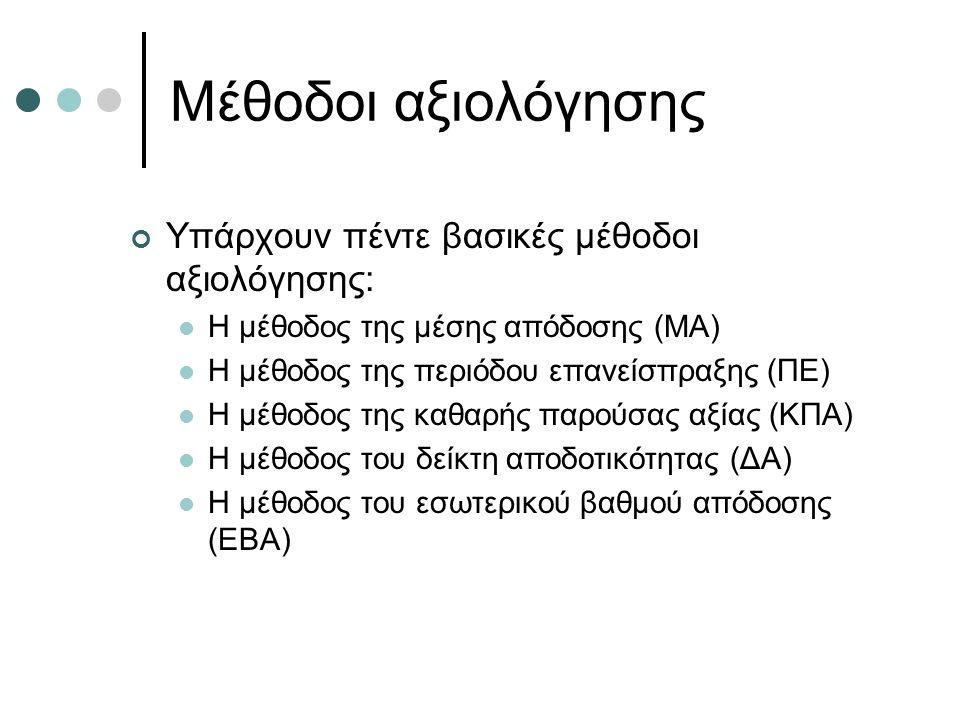 Μέθοδοι αξιολόγησης Υπάρχουν πέντε βασικές μέθοδοι αξιολόγησης: Η μέθοδος της μέσης απόδοσης (ΜΑ) Η μέθοδος της περιόδου επανείσπραξης (ΠΕ) Η μέθοδος της καθαρής παρούσας αξίας (ΚΠΑ) Η μέθοδος του δείκτη αποδοτικότητας (ΔΑ) Η μέθοδος του εσωτερικού βαθμού απόδοσης (ΕΒΑ)
