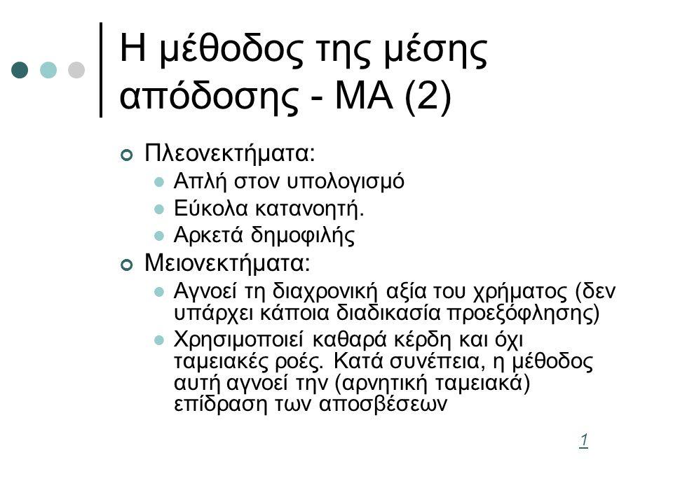 Η μέθοδος της μέσης απόδοσης - ΜΑ (2) Πλεονεκτήματα: Απλή στον υπολογισμό Εύκολα κατανοητή. Αρκετά δημοφιλής Μειονεκτήματα: Αγνοεί τη διαχρονική αξία