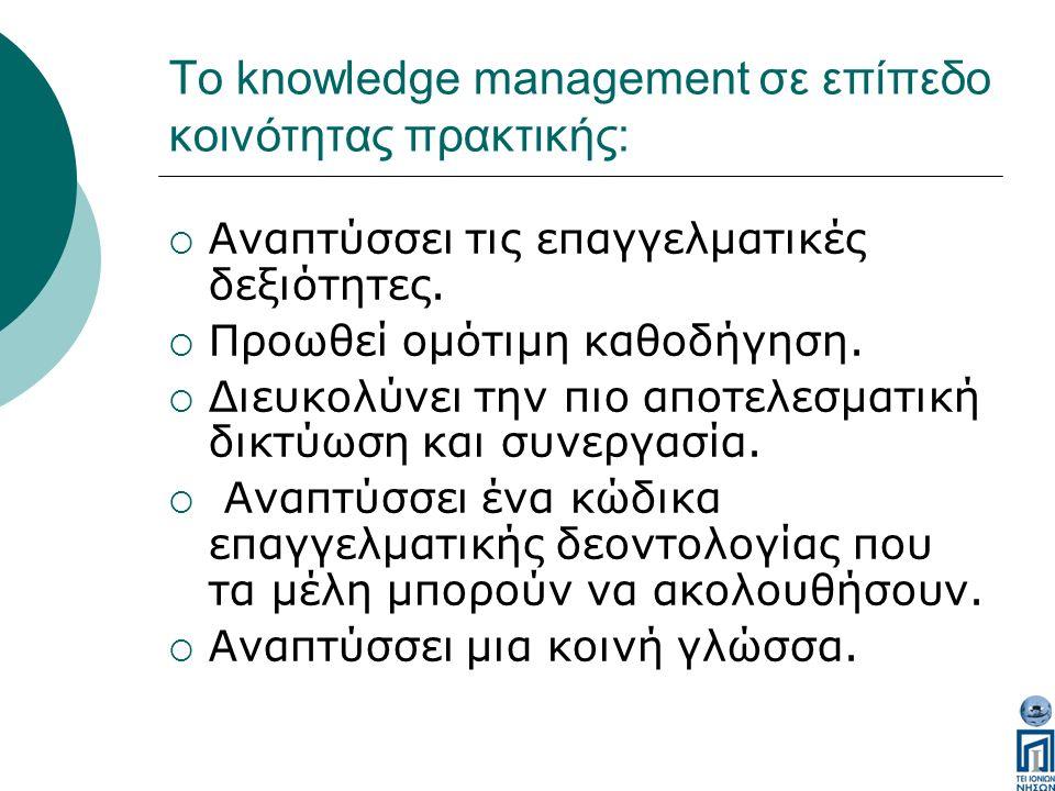 Το knowledge management σε επίπεδο κοινότητας πρακτικής:  Αναπτύσσει τις επαγγελματικές δεξιότητες.