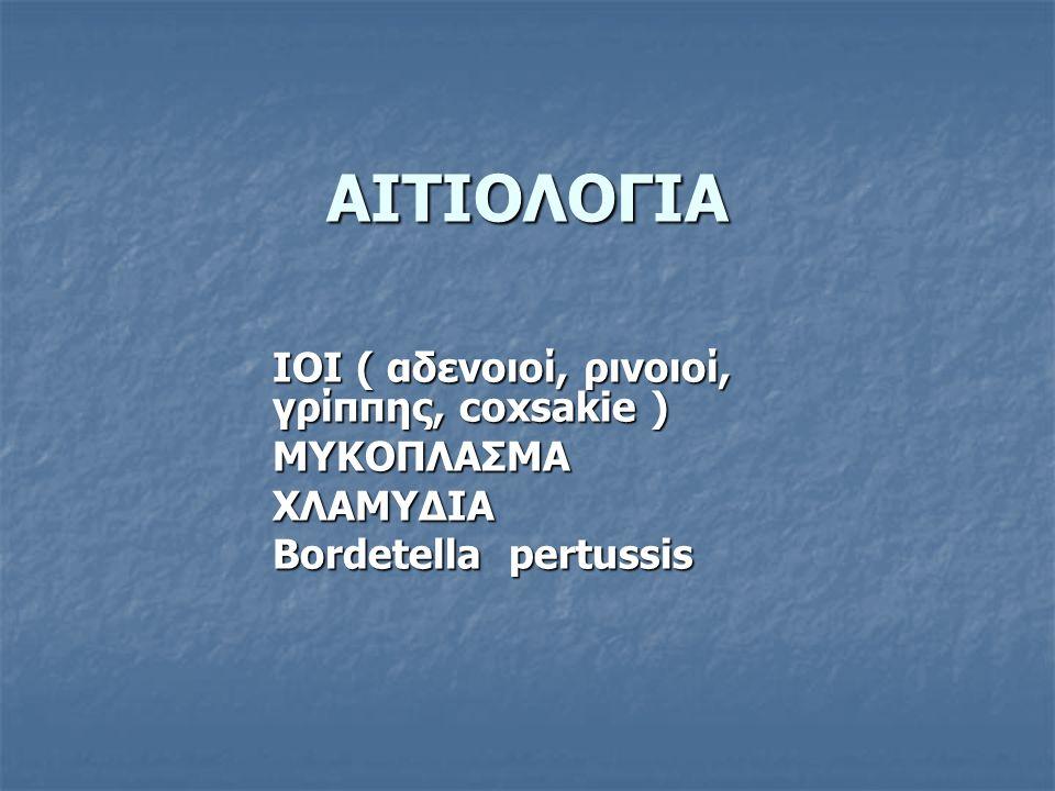 ΑΙΤΙΟΛΟΓΙΑ ΙΟΙ ( αδενοιοί, ρινοιοί, γρίππης, coxsakie ) ΜΥΚΟΠΛΑΣΜΑΧΛΑΜΥΔΙΑ Bordetella pertussis