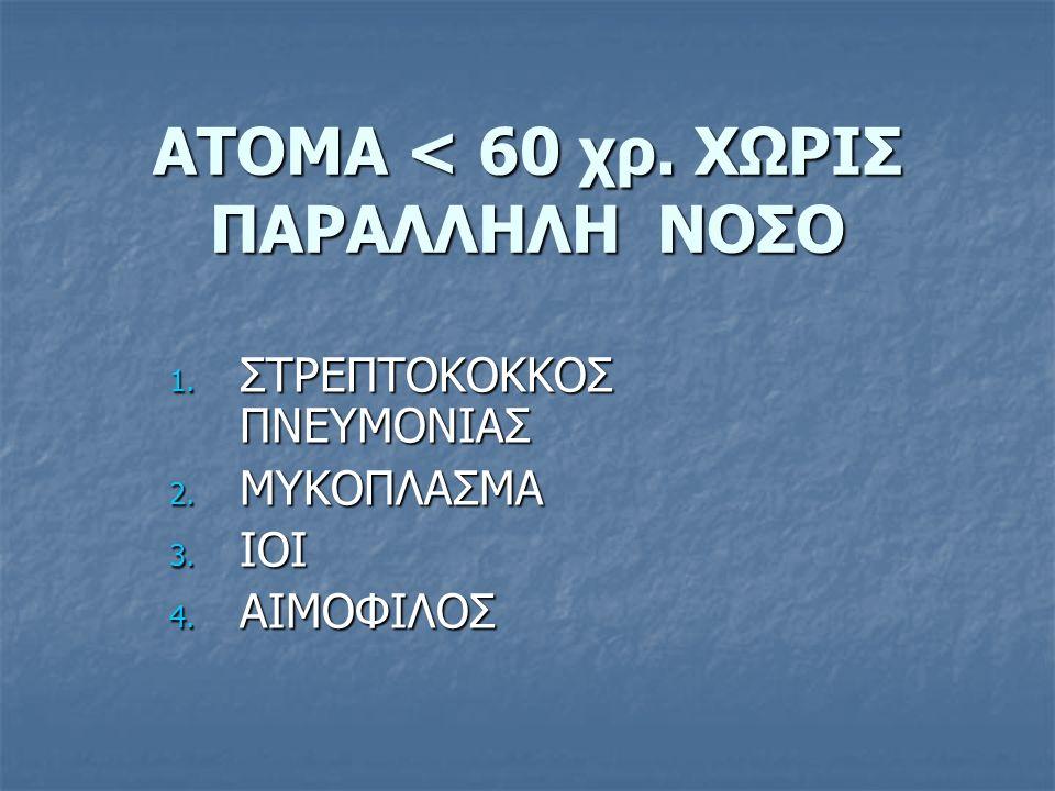 ΑΤΟΜΑ < 60 χρ. ΧΩΡΙΣ ΠΑΡΑΛΛΗΛΗ ΝΟΣΟ 1. ΣΤΡΕΠΤΟΚΟΚΚΟΣ ΠΝΕΥΜΟΝΙΑΣ 2. ΜΥΚΟΠΛΑΣΜΑ 3. ΙΟΙ 4. ΑΙΜΟΦΙΛΟΣ