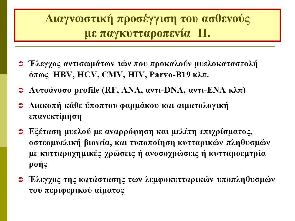  Έλεγχος αντισωμάτων ιών που προκαλούν μυελοκαταστολή όπως HBV, HCV, CMV, HIV, Parvo-B19 κλπ.