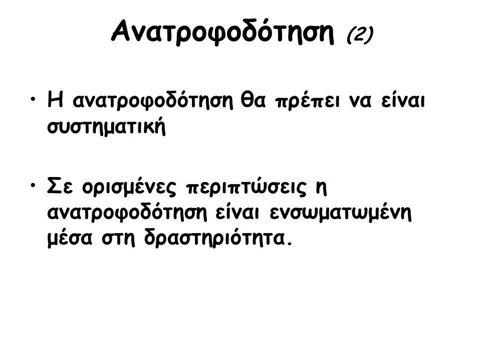 Ανατροφοδότηση (2) Η ανατροφοδότηση θα πρέπει να είναι συστηματική Σε ορισμένες περιπτώσεις η ανατροφοδότηση είναι ενσωματωμένη μέσα στη δραστηριότητα.