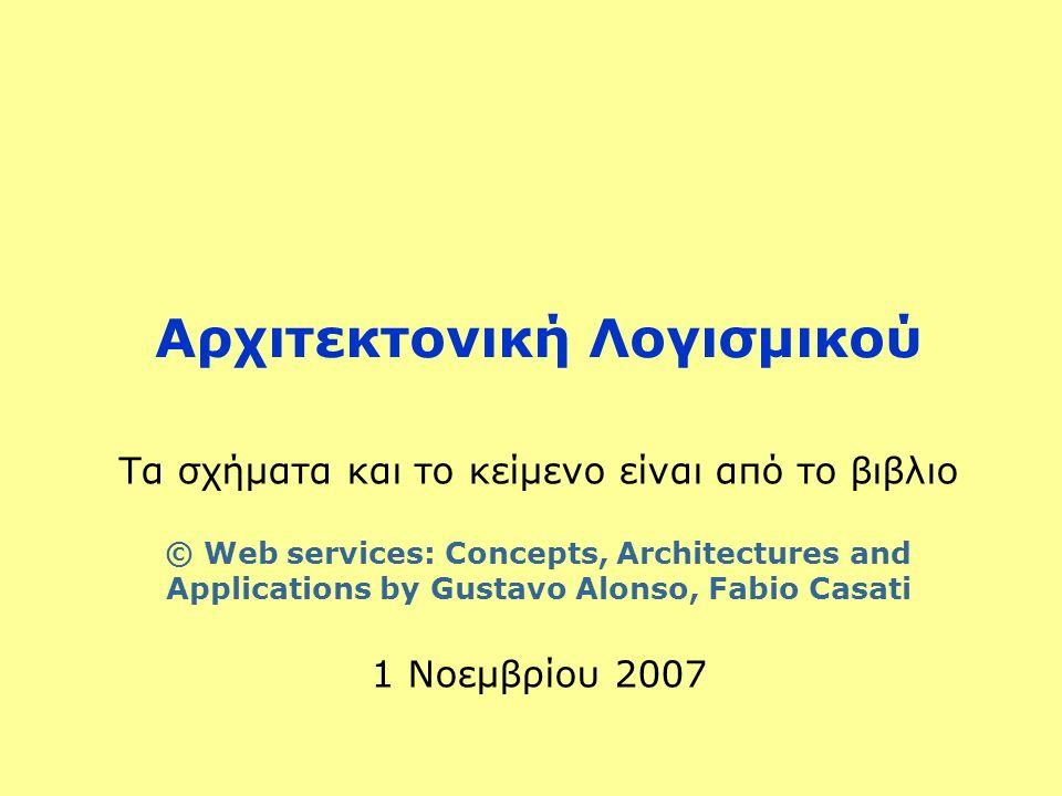 Αρχιτεκτονική Λογισμικού Τα σχήματα και το κείμενο είναι από το βιβλιο © Web services: Concepts, Architectures and Applications by Gustavo Alonso, Fabio Casati 1 Νοεμβρίου 2007