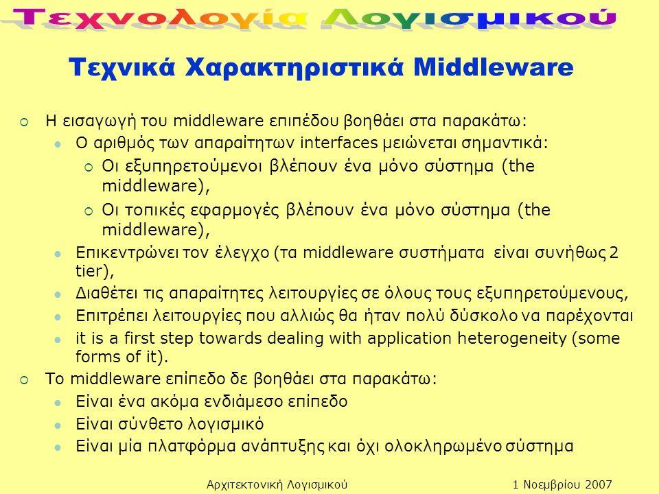 1 Νοεμβρίου 2007Αρχιτεκτονική Λογισμικού Τεχνικά Χαρακτηριστικά Μiddleware  Η εισαγωγή του middleware επιπέδου βοηθάει στα παρακάτω: Ο αριθμός των απαραίτητων interfaces μειώνεται σημαντικά:  Οι εξυπηρετούμενοι βλέπουν ένα μόνο σύστημα (the middleware),  Οι τοπικές εφαρμογές βλέπουν ένα μόνο σύστημα (the middleware), Επικεντρώνει τον έλεγχο (τα middleware συστήματα είναι συνήθως 2 tier), Διαθέτει τις απαραίτητες λειτουργίες σε όλους τους εξυπηρετούμενους, Επιτρέπει λειτουργίες που αλλιώς θα ήταν πολύ δύσκολο να παρέχονται it is a first step towards dealing with application heterogeneity (some forms of it).
