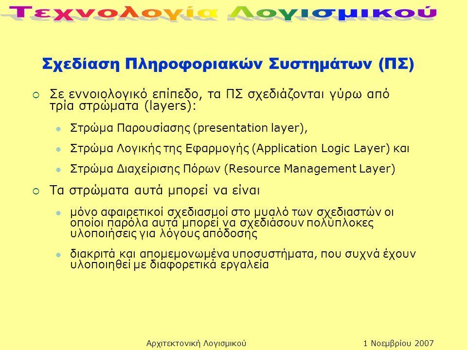 Αρχιτεκτονική Λογισμικού Σχεδίαση Πληροφοριακών Συστημάτων (ΠΣ)  Σε εννοιολογικό επίπεδο, τα ΠΣ σχεδιάζονται γύρω από τρία στρώματα (layers): Στρώμα Παρουσίασης (presentation layer), Στρώμα Λογικής της Εφαρμογής (Application Logic Layer) και Στρώμα Διαχείρισης Πόρων (Resource Management Layer)  Τα στρώματα αυτά μπορεί να είναι μόνο αφαιρετικοί σχεδιασμοί στο μυαλό των σχεδιαστών οι οποίοι παρόλα αυτά μπορεί να σχεδιάσουν πολύπλοκες υλοποιήσεις για λόγους απόδοσης διακριτά και απομεμονωμένα υποσυστήματα, που συχνά έχουν υλοποιηθεί με διαφορετικά εργαλεία