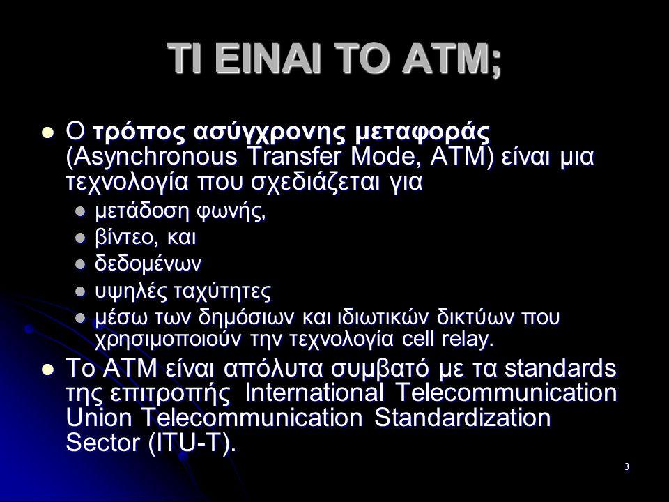 24 Συνδέσεις Point-to-Point και συνδέσεις Point-to-Multipoint Οι συνδέσεις point-to-point συνδέουν δύο συστήματα ATM και μπορούν να είναι μονά-κατευθυνόμενες ή αμφίδρομες Οι συνδέσεις point-to-point συνδέουν δύο συστήματα ATM και μπορούν να είναι μονά-κατευθυνόμενες ή αμφίδρομες Αντιθέτως, οι συνδέσεις Point-to-Multipoint ενώνουν ένα πηγαίο ενιαίο τερματικό σύστημα (γνωστό και ως root-κόμβος) με πολλαπλούς προορισμούς (δηλαδή άλλα πολλαπλά τερματικά συστήματα).