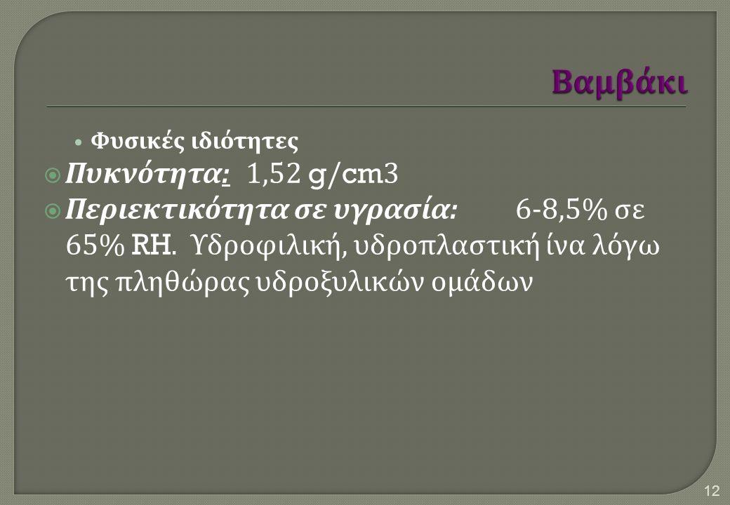 Φυσικές ιδιότητες  Πυκνότητα :1,52 g/cm3  Περιεκτικότητα σε υγρασία :6-8,5% σε 65% RH. Υδροφιλική, υδροπλαστική ίνα λόγω της πληθώρας υδροξυλικών ομ
