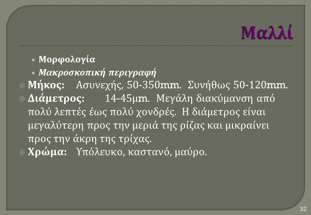 Μορφολογία Μακροσκοπική περιγραφή  Μήκος : Ασυνεχής, 50-350mm. Συνήθως 50-120mm.  Διάμετρος :14-45 μ m. Μεγάλη διακύμανση από πολύ λεπτές έως πολύ χ