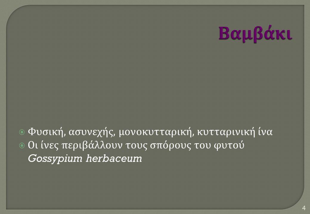  Φυσική, ασυνεχής, μονοκυτταρική, κυτταρινική ίνα  Οι ίνες περιβάλλουν τους σπόρους του φυτού Gossypium herbaceum 4