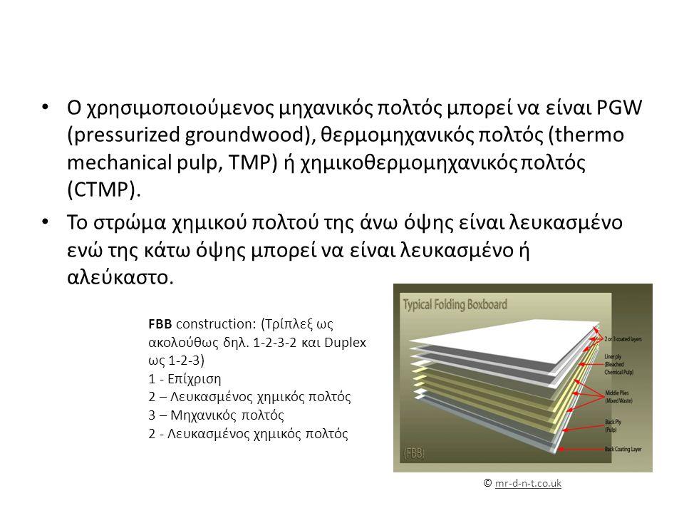 Ο χρησιμοποιούμενος μηχανικός πολτός μπορεί να είναι PGW (pressurized groundwood), θερμομηχανικός πολτός (thermo mechanical pulp, TMP) ή χημικοθερμομηχανικός πολτός (CTMP).