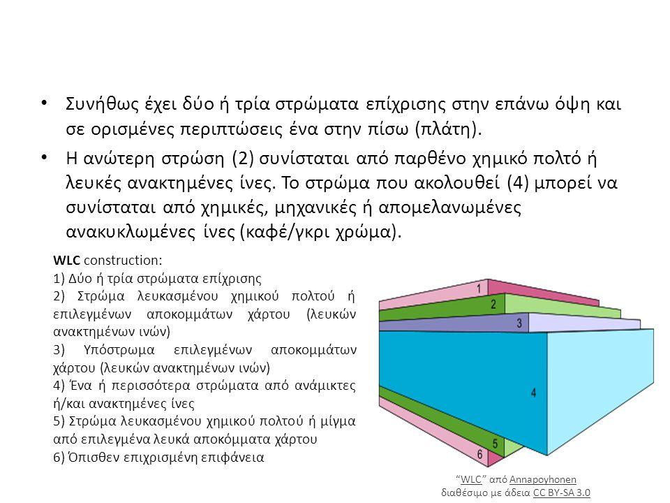 Συνήθως έχει δύο ή τρία στρώματα επίχρισης στην επάνω όψη και σε ορισμένες περιπτώσεις ένα στην πίσω (πλάτη).