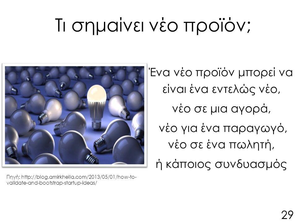Τι σημαίνει νέο προϊόν; Ένα νέο προϊόν μπορεί να είναι ένα εντελώς νέο, νέο σε μια αγορά, νέο για ένα παραγωγό, νέο σε ένα πωλητή, ή κάποιος συνδυασμός 29 Πηγή: http://blog.amirkhella.com/2013/05/01/how-to- validate-and-bootstrap-startup-ideas/