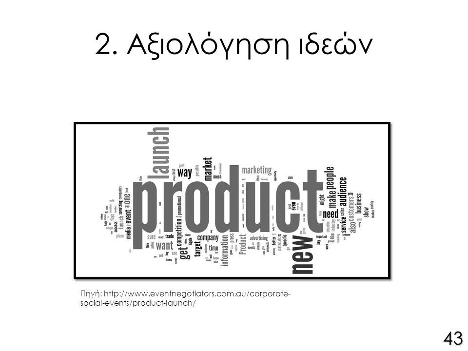 2. Αξιολόγηση ιδεών 43 Πηγή: http://www.eventnegotiators.com.au/corporate- social-events/product-launch/