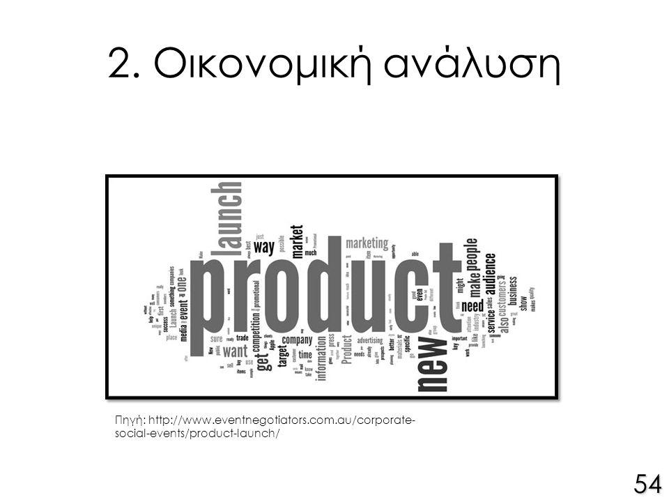 2. Οικονομική ανάλυση 54 Πηγή: http://www.eventnegotiators.com.au/corporate- social-events/product-launch/