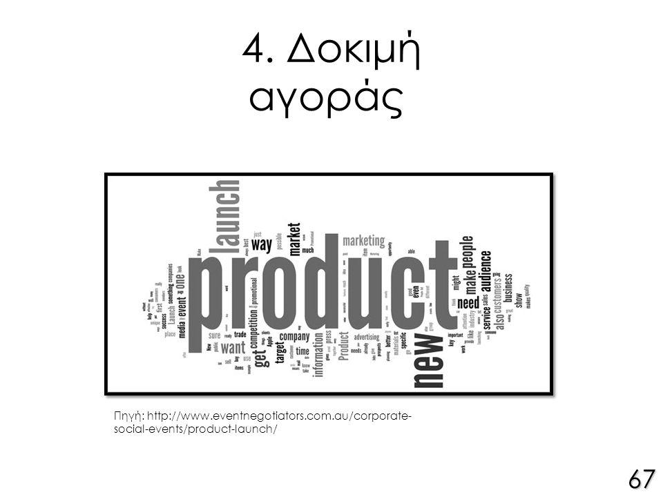 4. Δοκιμή αγοράς 67 Πηγή: http://www.eventnegotiators.com.au/corporate- social-events/product-launch/