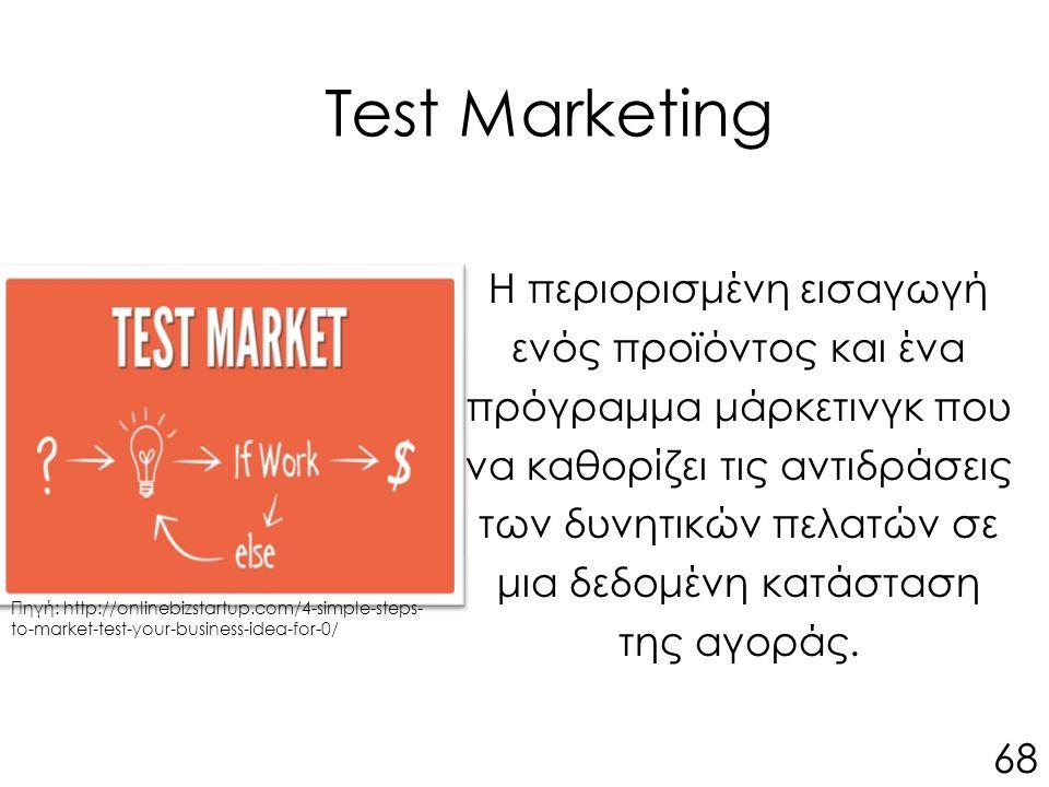Test Marketing Η περιορισμένη εισαγωγή ενός προϊόντος και ένα πρόγραμμα μάρκετινγκ που να καθορίζει τις αντιδράσεις των δυνητικών πελατών σε μια δεδομένη κατάσταση της αγοράς.