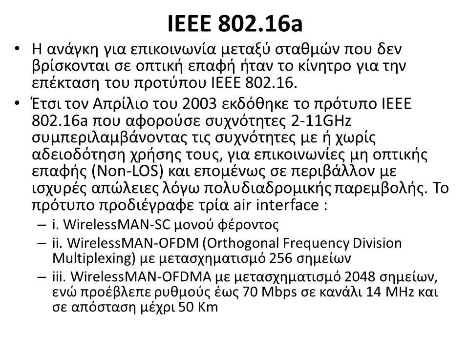 ΙΕΕΕ 802.16a Η ανάγκη για επικοινωνία μεταξύ σταθμών που δεν βρίσκονται σε οπτική επαφή ήταν το κίνητρο για την επέκταση του προτύπου ΙΕΕΕ 802.16.