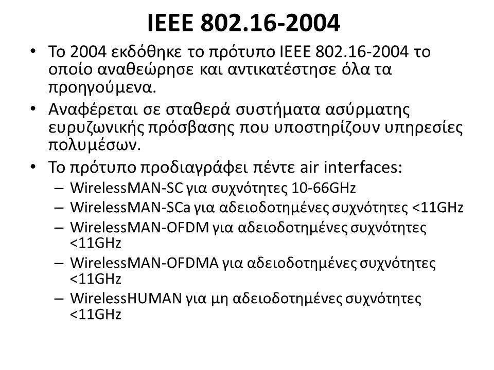 ΙΕΕΕ 802.16-2004 Το 2004 εκδόθηκε το πρότυπο ΙΕΕΕ 802.16-2004 το οποίο αναθεώρησε και αντικατέστησε όλα τα προηγούμενα.