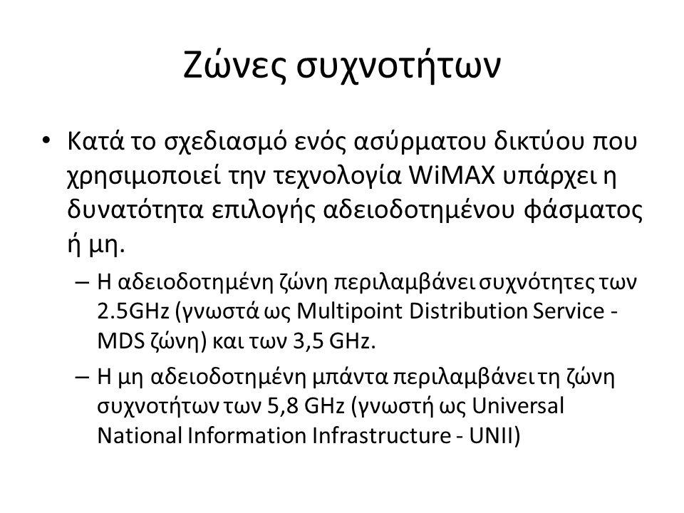 Ζώνες συχνοτήτων Κατά το σχεδιασμό ενός ασύρματου δικτύου που χρησιμοποιεί την τεχνολογία WiMAX υπάρχει η δυνατότητα επιλογής αδειοδοτημένου φάσματος ή μη.